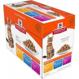 Hill's Feline Adult Multipack Pouch (Chicken+Ocean Fish+Beef) guliašas